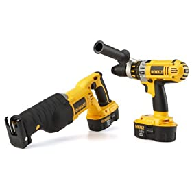 DEWALT DC2PAKCA Heavy-Duty XRP 18-Volt Cordless 2 Tool Combo Kit, includes Hammer Drill and Reciprocating Saw