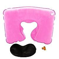 Aubigjp U型枕 空気枕 旅行 携帯用 昼休み用 エアまくら(U型まくら&耳栓&アイマスク) 3点セット - Pink