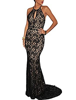 made2envy Elegant Lace Nude Illusion Open Back Evening Gown