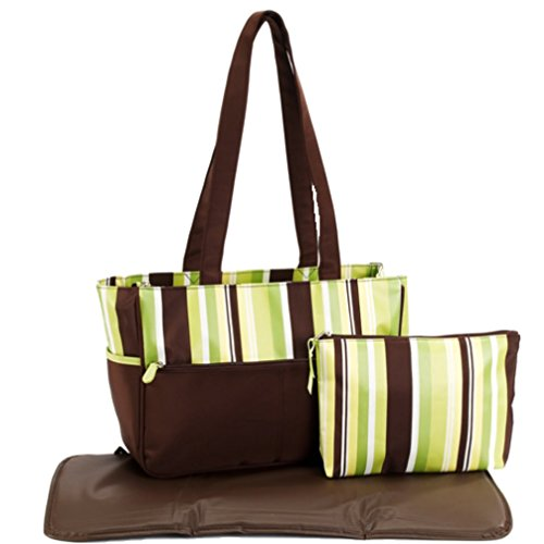 Pretty Baby Striped Tote Diaper Bag Brown and Green - 1