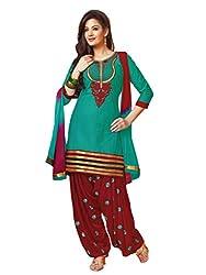 Salwar Studio Teal & Maroon Dress Material with Dupatta RP-1007