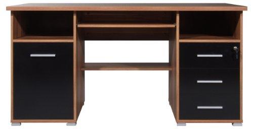 germania schreibtisch walnuss schwarz preisvergleich b rom bel g nstig kaufen bei. Black Bedroom Furniture Sets. Home Design Ideas
