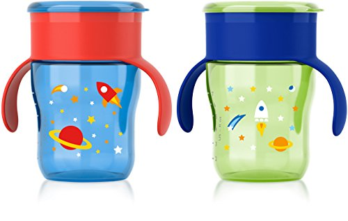 Philips Avent My Natural Drinking Cup, 9 Ounce, Green/Blue/Red, 2 Count, Stage 4