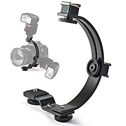 VILTROX C-Shape Hot Shoe Bracket Stand Stabilizer with Two Shoes & 2 Tripod Screws camera Flash Video light DSLR SLR