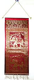 Indian Wall Runner Designer Handmade Silk Crafted Storage Elephant Wall Hanging