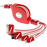 USB Cable, Retractable 4 in 1 Multifunctional Universal USB Charger Cable for iPhone 6s, 6s Plus, 5 / 5S / 5C / SE, 4S 4,iPad Mini, Galaxy S7 Edge, S6, S5, Note 4 5, all Android and Tablets (Red)