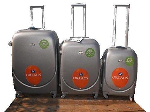 Set 3 Trolley ORLA rigide in ABS e policarbonato MODELLO ESPANDIBILE 4 ruote piroettanti colori vari (Grigio)