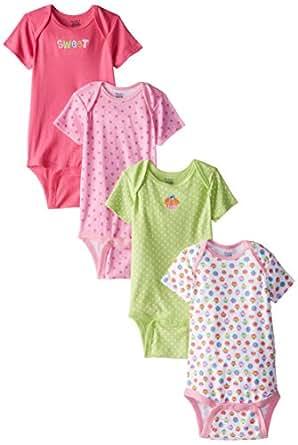 Gerber Baby Girls' Cupcakes 4 Pack Variety Onesies Brand, Pink/Green, 24 Months