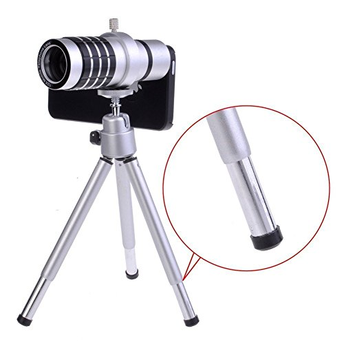 "Shopping_Shop2000® 12X Zoom Aluminum Universal Manual Focus Telephoto Telescope Phone Camera Lens Kit + Mini Tripod + Case For Iphone 6 (4.7"") (Iphone 6 12X Silver)"