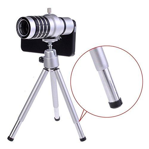"Shopping_Shop2000® 12X Zoom Aluminum Universal Manual Focus Telephoto Telescope Phone Camera Lens Kit + Mini Tripod + Case For Iphone 6 (4.7"") (Iphone 6 12X Silver)"