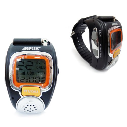 AGPtek® Wristwatch Walkie Talkie Spy Wrist Watch--Auto Channel Scan--LCD display--Auto Squelch (2 packs)