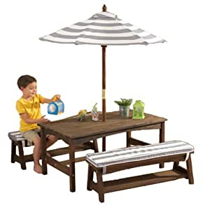 Kidkraft Table Bench Set Gray White Outdoor