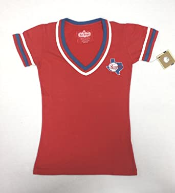 MLB Ladies Texas Rangers Retro Design Deep V-Neck T-Shirt By Red Jacket by Red Jacket