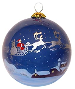 Flying Over Rooftops Hand Painted Christmas Tree Bauble ...