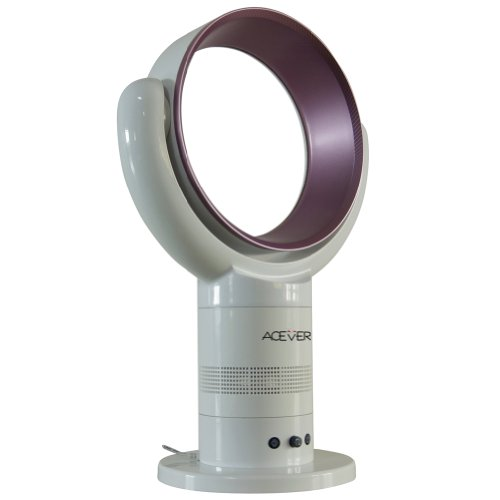 ACEVER 10-inch Remote Control Timing Multifunction Table and Floor Standing No Blade Multiplying Fan Round White Purple