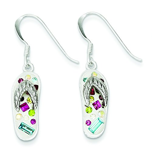 Sterling Silver Stellux Crystal Multi-Color/White Flip Flop Earrings
