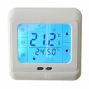 Settimanale touchscreen digitale programmabile termostato a pavimento Riscaldamento a pavimento Termostato LCD retroilluminazione blu per il riscaldamento dell'acqua 3A Sistema