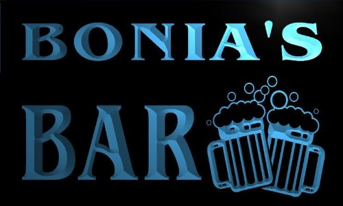 w084344-b-bonias-name-home-bar-pub-beer-mugs-cheers-neon-light-sign