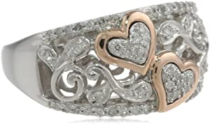 XPY Sterling Silver and 14k Pink Gold Diamond Hearts Ring (1/4 cttw, I-J Color, I2-I3 Clarity), Size 7