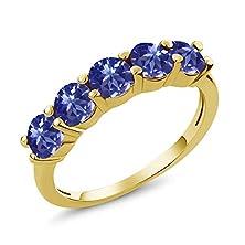 buy 0.90 Ct Round Blue Aaa Tanzanite 14K Yellow Gold Wedding Band Ring