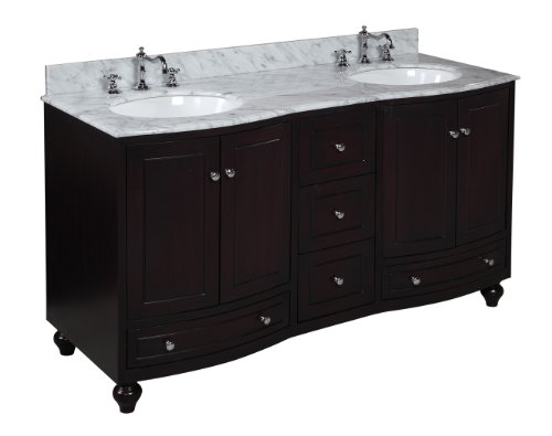 Palazzo 60-inch Double Bathroom Vanity (Carrara/Espresso): Includes Espresso Cabinet with Soft Close Doors & Drawers, Authentic Italian Carrara Marble Countertop, and Two Ceramic Sinks