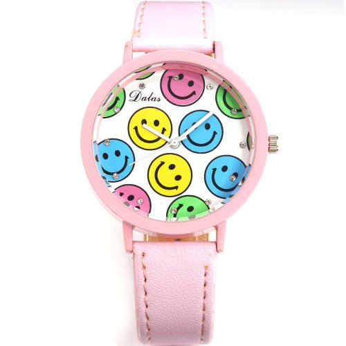 AMPM24 Smiley Face Pink Round Dial Lady Girl Clear Crystal Analog Wrist Quartz Watch