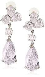 CZ by Kenneth Jay Lane Rhodium-Plated Cubic Zirconia Clip Earrings, 5 CTTW