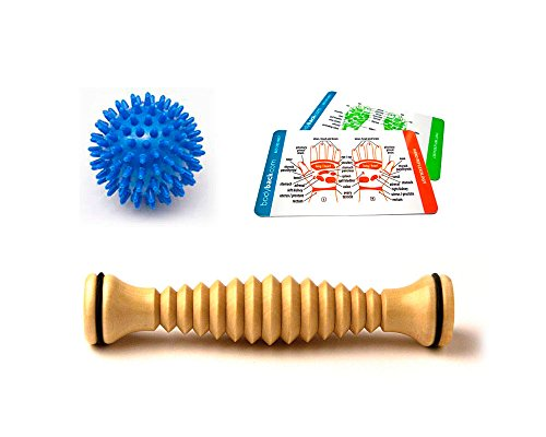 Body Back Company's Wooden Foot Roller and Porcupine Massage Ball (Blue) | Plantar Fasciitis Relief