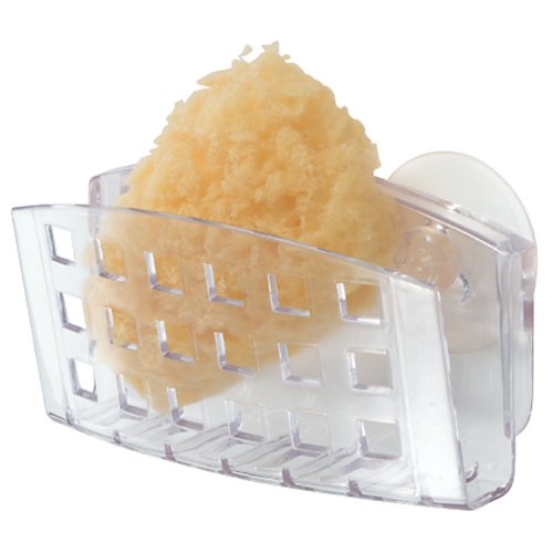 InterDesign Sinkworks Kitchen Sink Suction Holder for Sponges, Scrubbers, Soap - Clear