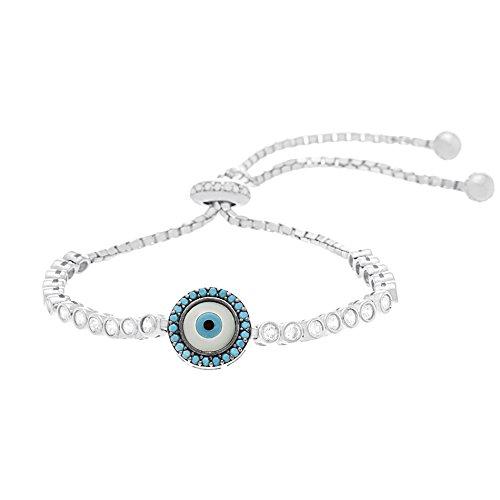 [Silver or Gold Sterling Silver Cubic Zirconia Mother Of Pearl Evil Eye Bracelet (Silver)] (Evil Eye Skull Costumes)