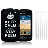 BLACKBERRY CURVE 9380 BLACK/WHITE KEEP CALM AND STAY REEM LASERED SILICONE SKIN CASE / COVER / SHELL + 6-IN-1 SCREEN PROTECTOR PACK PART OF THE QUBITS ACCESSORIES RANGEby Qubits