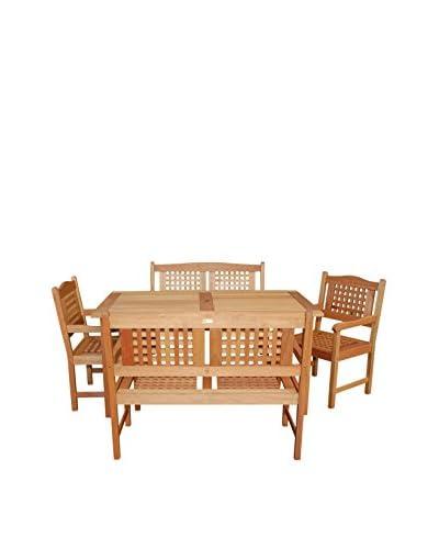 Amazonia Milano 5-Piece Rectangular Porto Bench Set, Brown