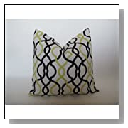 Decorative Designer Pillow Cover-Black & Lime Green