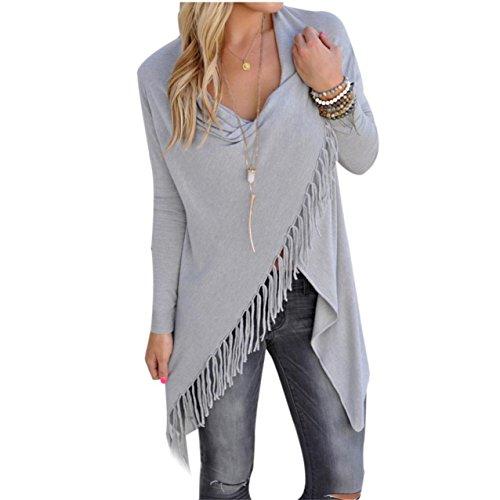 lhwy damen lockere casual langarm t shirt baumwolle bluse l grau. Black Bedroom Furniture Sets. Home Design Ideas