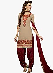 Decent World Beige Georgette Special Occasion Dress Material