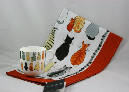Ulster Weavers Cats In Waiting Tea Towel And Bone China Mug