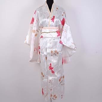 Kimono Peignoir Robe de Chambre Satin Blanc Taille Unique