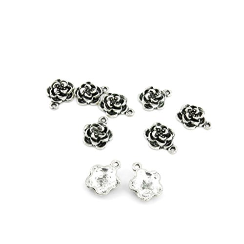 980 PCS Antique Ancient Silver Tone Jewelry Making Charms Findings Jewellery Charme Bulk Wholesale Supplies Supply 36747 Flower