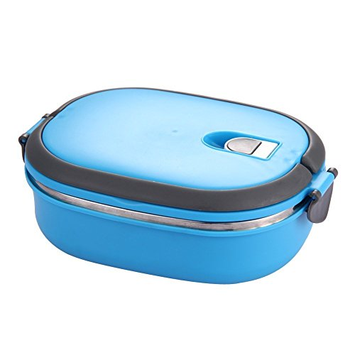 Lunch Box - SODIAL(R) Insulated Lunch Box Stainless Steel Food Storage Container Thermo Server Essentials Thermal (Single Layer, Blue) (Insulated Lunch Container compare prices)