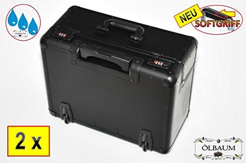 2-x-Daypack-Sportkoffer-EXTRABREIT-ALU-schwarz-XXL-Picknickkoffer-gro-mit-Rollen-Teleskopgriffstandfest-Picknick-Reisekoffer-Leder-Kunstleder-Tasche-mit-grosszgiger-Einteilung-mit-rollen-Reisetasche-T