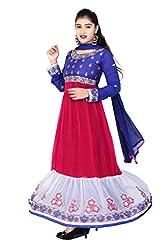 Womens Silk & Georgette Anarkali Dress Material (Pinkwhiteblue _Pink _Free Size)