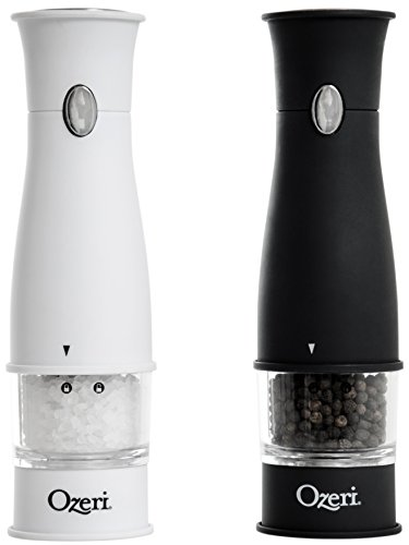 Ozeri BPA Free Artesio Electric Salt and Pepper Grinder Set, White/Black