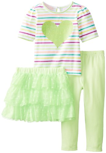 Kids Headquarters Baby-Girls Infant Stripes Top With Heart Skirt And Yellow Legging, Green, 24 Months front-696655