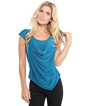 KRISP® Top Haut Brillant Col Bénitier Décolleté Noeud Dos - Femme (36, Bleu vert)
