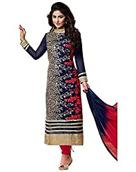 INDIA FASHION SHOP WOMENS NAVY BLUE EMBROIDERED GEORGETTE DRESS