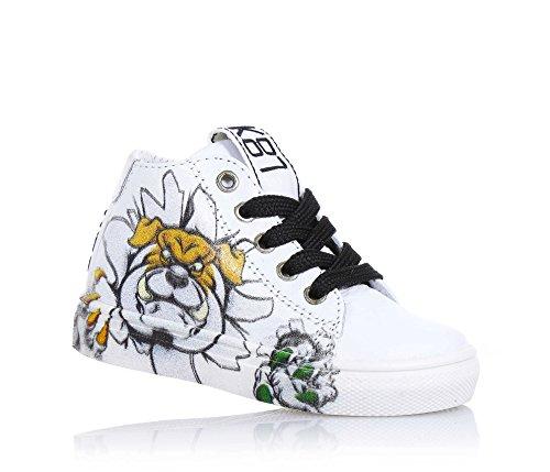 BE KOOL - Sneaker bianca stringata in pelle, ispirata dal mondo dell'arte di strada, con chiusura a zip laterale, occhielli in metallo, Bambino, Ragazzo-20