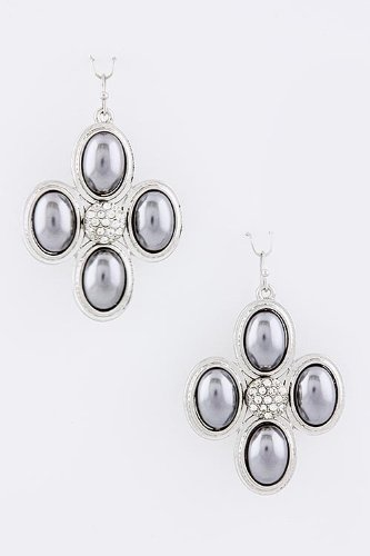 Trendy Fashion Jewelry Crystal Four Pearl Earrings By Fashion Destination | (Black/Pearl) front-574067