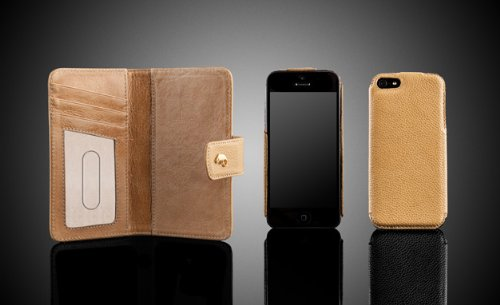 Special Sale Camalen CWalletSnap-BJ Genuine Leather Case for iPhone 5 - 1 Pack - Retail Packaging - Bej Floater