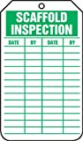 "Accuform Signs TRS317CTP Scaffold Status Tag, Legend ""SCAFFOLD INSPECTION"", 5.75"" Length x 3.25"" Width x 0.010"" Thickness, PF-Cardstock, Green on White (Pack of 25)"