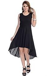 Wintage Women V Neck Sleeveless Black Solid High Low Maxi Dress